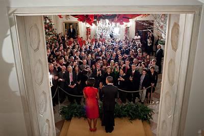 Barack Obama Photograph - President And Michelle Obama Address by Everett