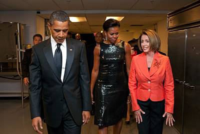 Barack Obama Photograph - President And Michelle Obama And House by Everett