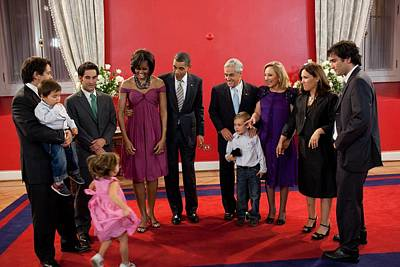Obama Family Photograph - President And Michelle Obama Gather by Everett