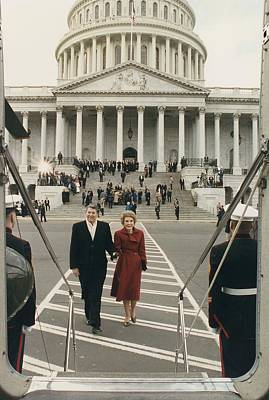 President And Nancy Reagan Boarding Print by Everett