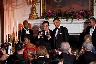 Michelle Obama Photograph - President Barack Obama And President Hu by Everett