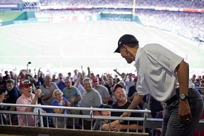 President Barack Obama Greets Baseball Print by Everett