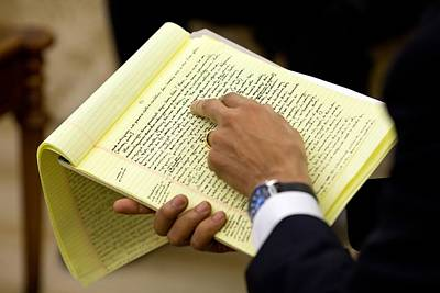 President Barack Obama Holds Print by Everett