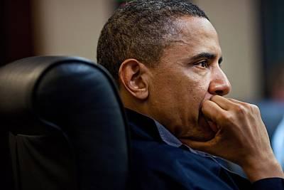 President Barack Obama Listens Print by Everett
