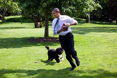 President Barack Obama Runs Away Print by Everett