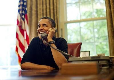 President Barack Obama Talks By Phone Print by Everett