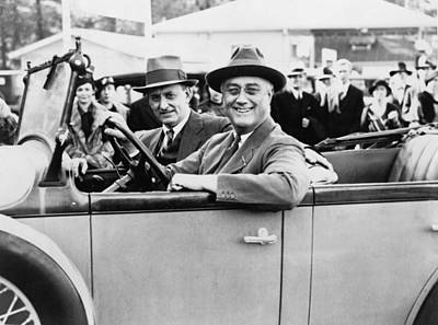 President Franklin D. Roosevelt Driving Print by Everett