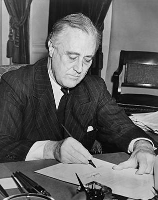 President Franklin D. Roosevelt Signing Print by Everett