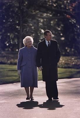 President George And Barbara Bush Take Print by Everett