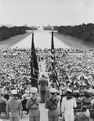 President Harry S. Truman Between Flags Print by Everett