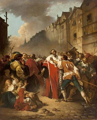 President Mole Manhandled By Insurgents Print by Francois Andre Vincent