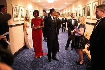 President Obama And Michelle Obama Wait Print by Everett