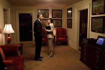 President Obama And Valerie Jarrett Print by Everett