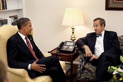 President Obama Meets With Estonian Print by Everett