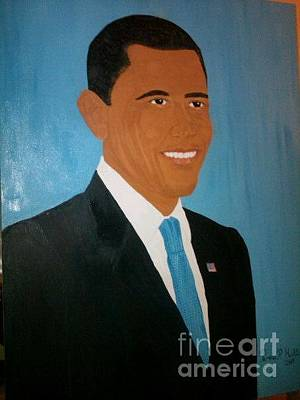44th Painting - President Obama by Pamela Hall