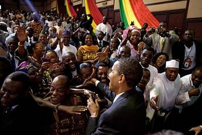 President Obama Shakes Hands Print by Everett
