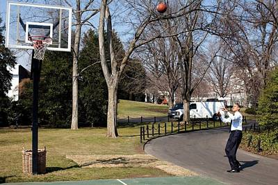 President Obama Shoots Hoops Print by Everett