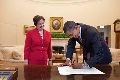 President Obama Signs Elena Kagans Print by Everett