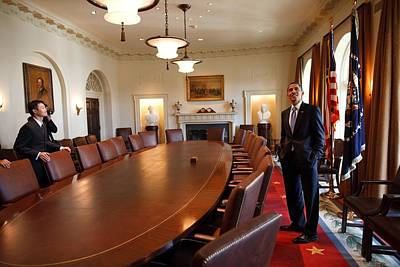 President Obama Surveys The Cabinet Print by Everett