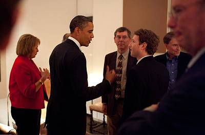 President Obama Talks With Facebook Print by Everett