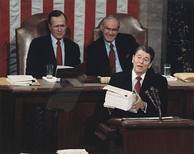 President Reagan Delivering His Last Print by Everett