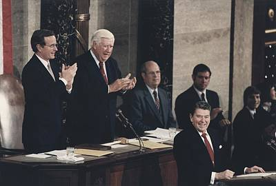 George Bush Photograph - President Reagan Receives A Standing by Everett
