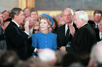 President Reagan Taking The Oath Print by Everett
