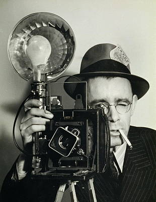 Press Photographer Holding Camera Print by Archive Holdings Inc.