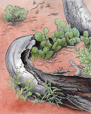 Prickly Pear Cacti In Zion Print by Inger Hutton