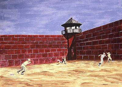 Baseball History Painting - Prison Ball by Ralph LeCompte