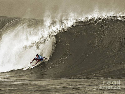 Pro Surfer Julian Wilson Surfing In The Pipeline Masters Contest Print by Paul Topp