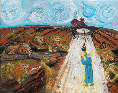 Revised Painting - Prophetic Message Sketch 15 Daniel The Lion's Den And The Whirlwind by Anne Cameron Cutri