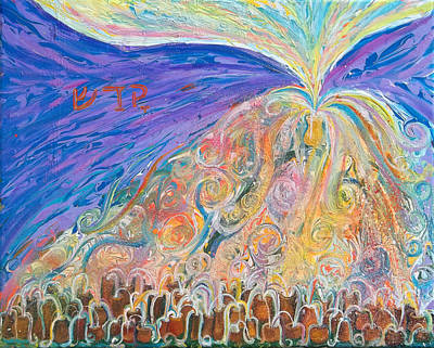 Prophetic Message Sketch 22 Sanctify Glory Pouring Into Vessel On The Mountain  Print by Anne Cameron Cutri