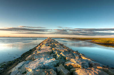 Province Town Jetty At Sunrise Print by Linda Pulvermacher