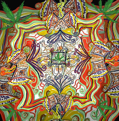 Psychedelic Art - The Jester's Cap Print by Barbara Giordano