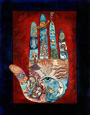 Reverse Painting - Psychic Hand by Mary DeLave