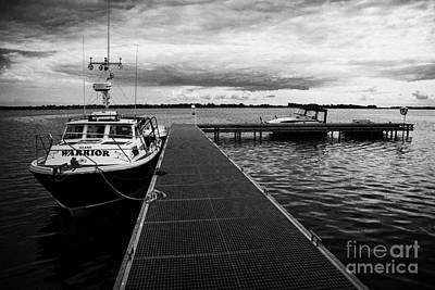 Public Jetty And Island Warrior Ferry On Rams Island In Lough Neagh Northern Ireland  Print by Joe Fox