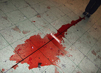 Mess Photograph - Puddle Of Red Wine On The Floor by Matthias Hauser