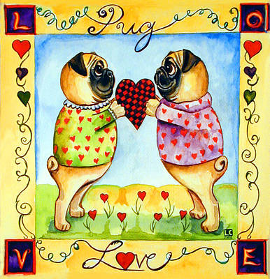 Pug Love Print by Lyn Cook