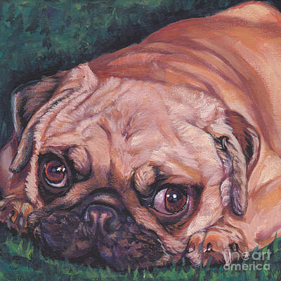 Fawn Pug Painting - Pug Pup by Lee Ann Shepard