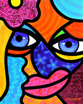 Abstract Faces Painting - Pull Yourself Together by Steven Scott