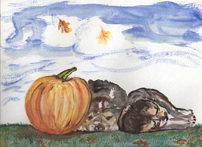 Pumpkin And Puppies Print by Pamela Wilson