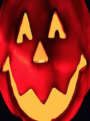Haunted House Party Mixed Media - Pumpkin Smile by Debra     Vatalaro