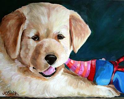 Labrador Painting - Pup And Toy by Mary Sparrow