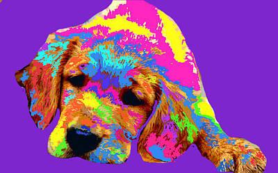 Golden Retriever Pop Art Digital Art - Puppy  by Chandler  Douglas