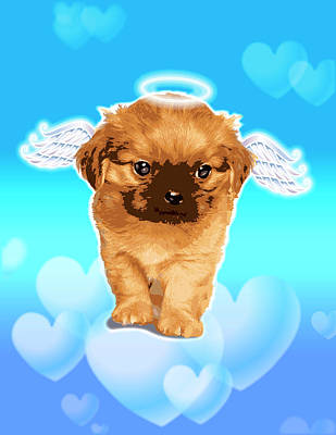 Puppies Digital Art - Puppy With Wings And Halo by New Vision Technologies Inc