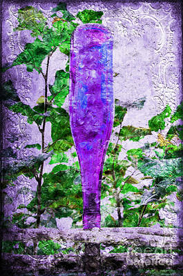 Purple Bottle Triptych 2 Of 3 Print by Andee Design