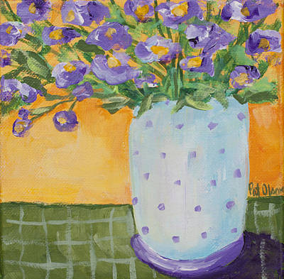 Painting - Purple Flowers And Dots by Pat Olson