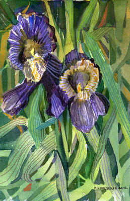 Irises Drawing - Purple Irises by Mindy Newman