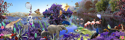 Goldfish Digital Art - Purple Jungle by Emily Campbell